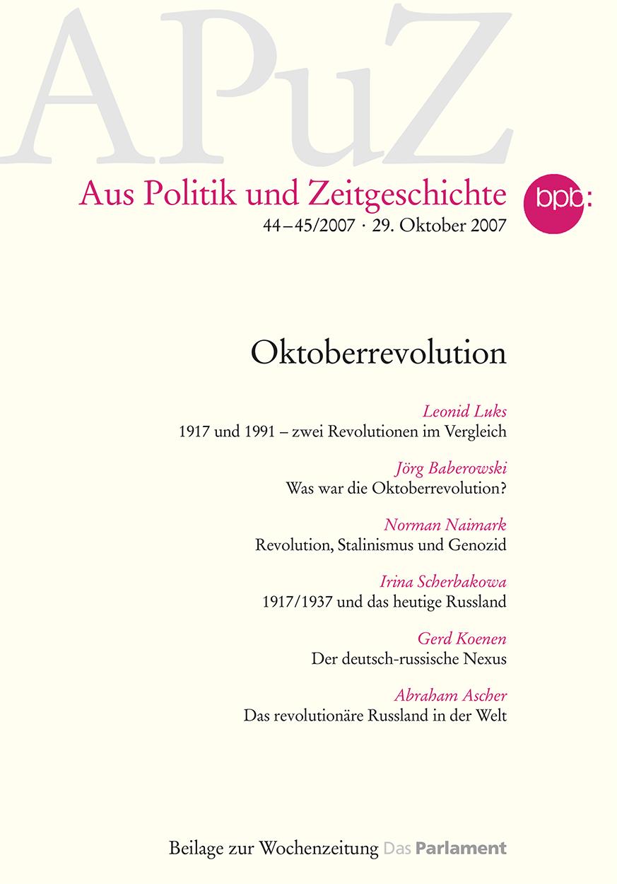 Titel APuZ - 44–45/2007 - 29. Oktober 2007 Aus Politik und Zeitgeschichte
