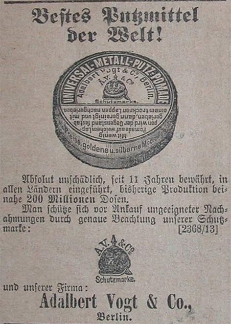 Adalbert Vogt Putzmittel für Pickelhauben