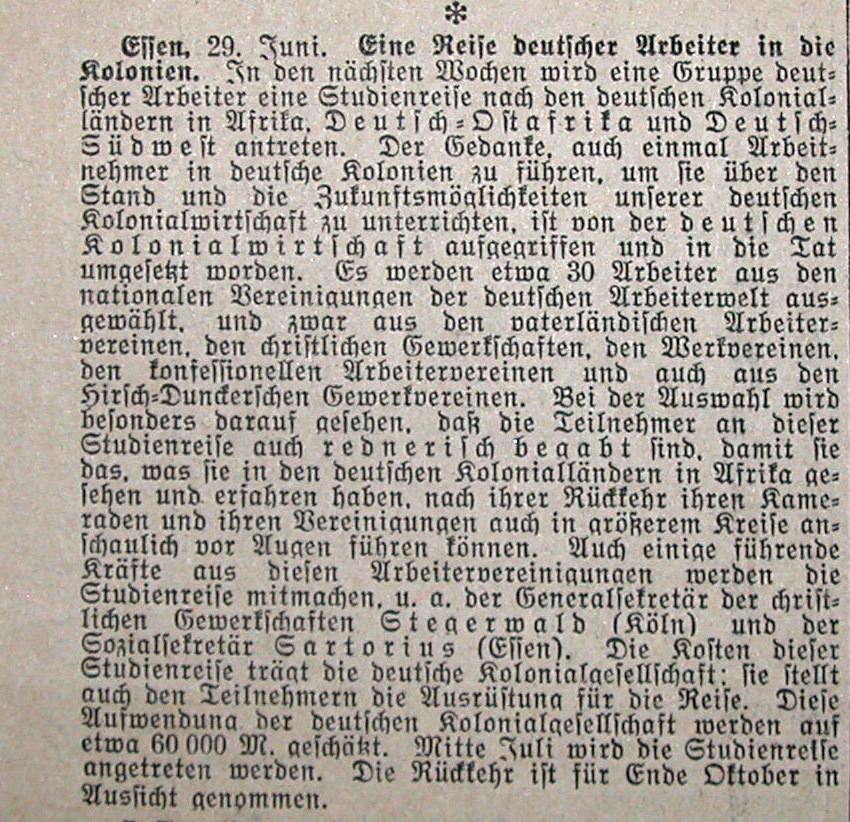 Arbeiter in deutschen Schutzgebieten Oktober 1914