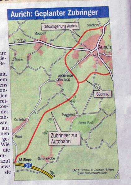 B210 Autobahn Zubringer Umgehungsstrasse Aurich