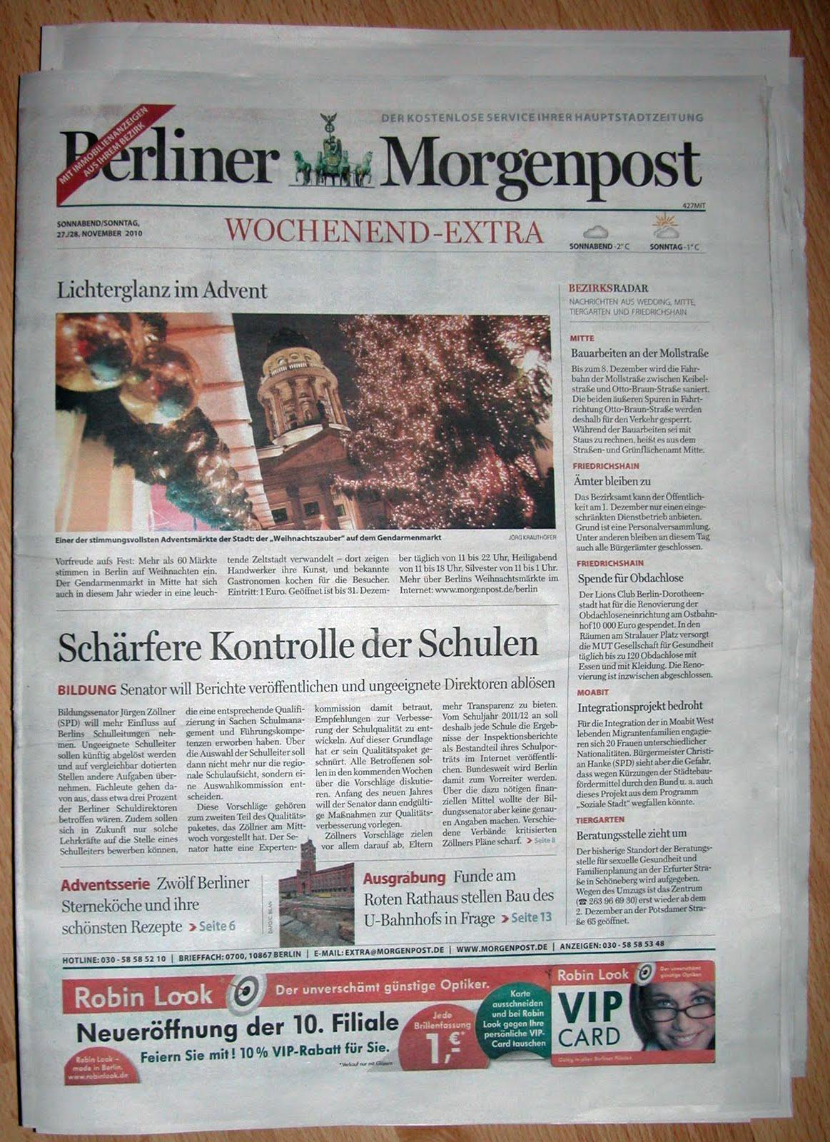 Berliner Morgenpost Wochenend Extra, November 2010