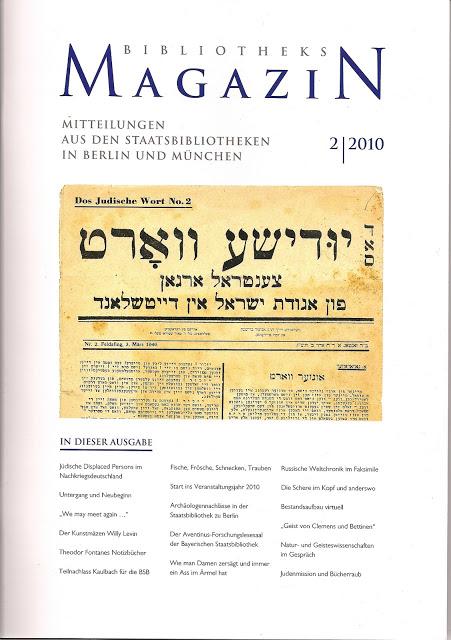 Titel des Das gemeinsame Bibliotheks Magazin der Staatsbibliothek zu Berlin und der Bayrischen Staatsbibliothek, 2010