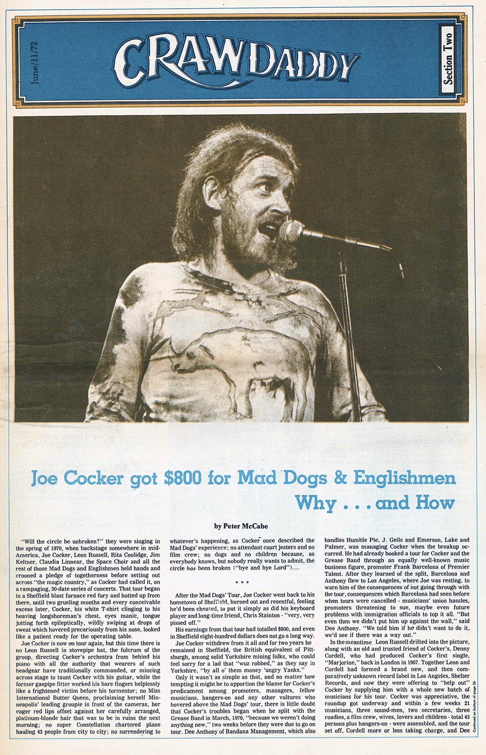 Joe Cocker 1972 Crawdaddy Magazine