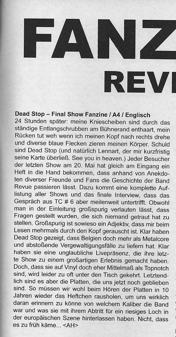 Review Dead Stop Farewell zine in Three Chords Fanzine