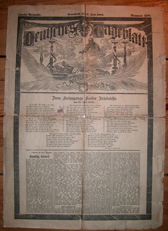 Deutsches Tageblatt Dreikaiserjahr 1888