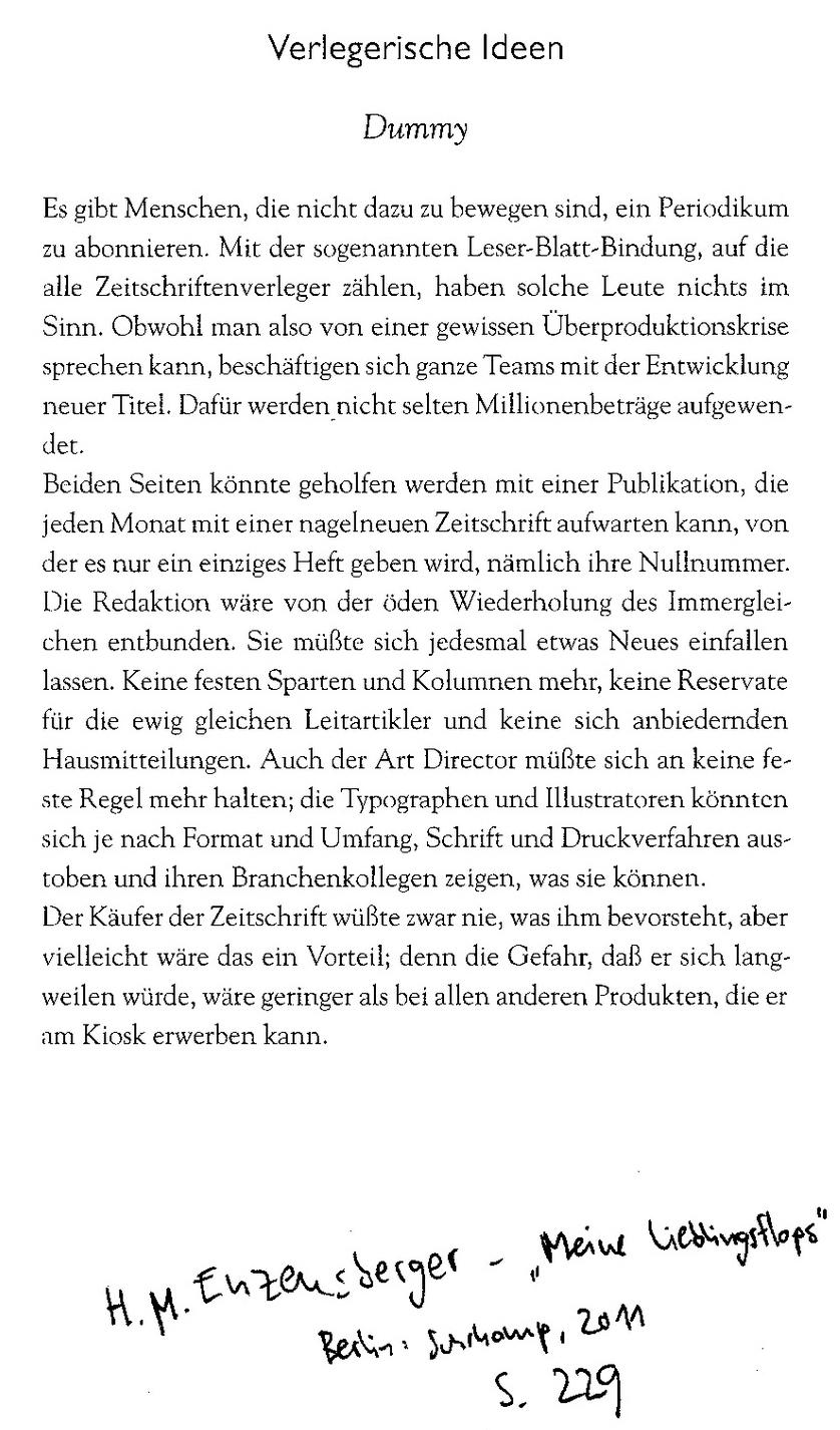 Hans Magnus Enzensberger Flops und Verlegerische Idee Dummy