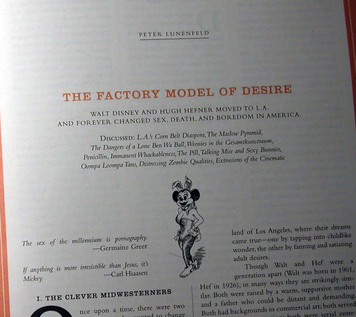 Hefner and Disney and their show business in the Believer 2011 Fim Issue