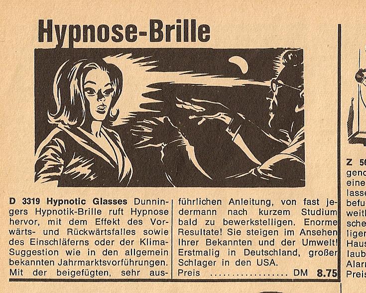 Hypnosebrille Werbung