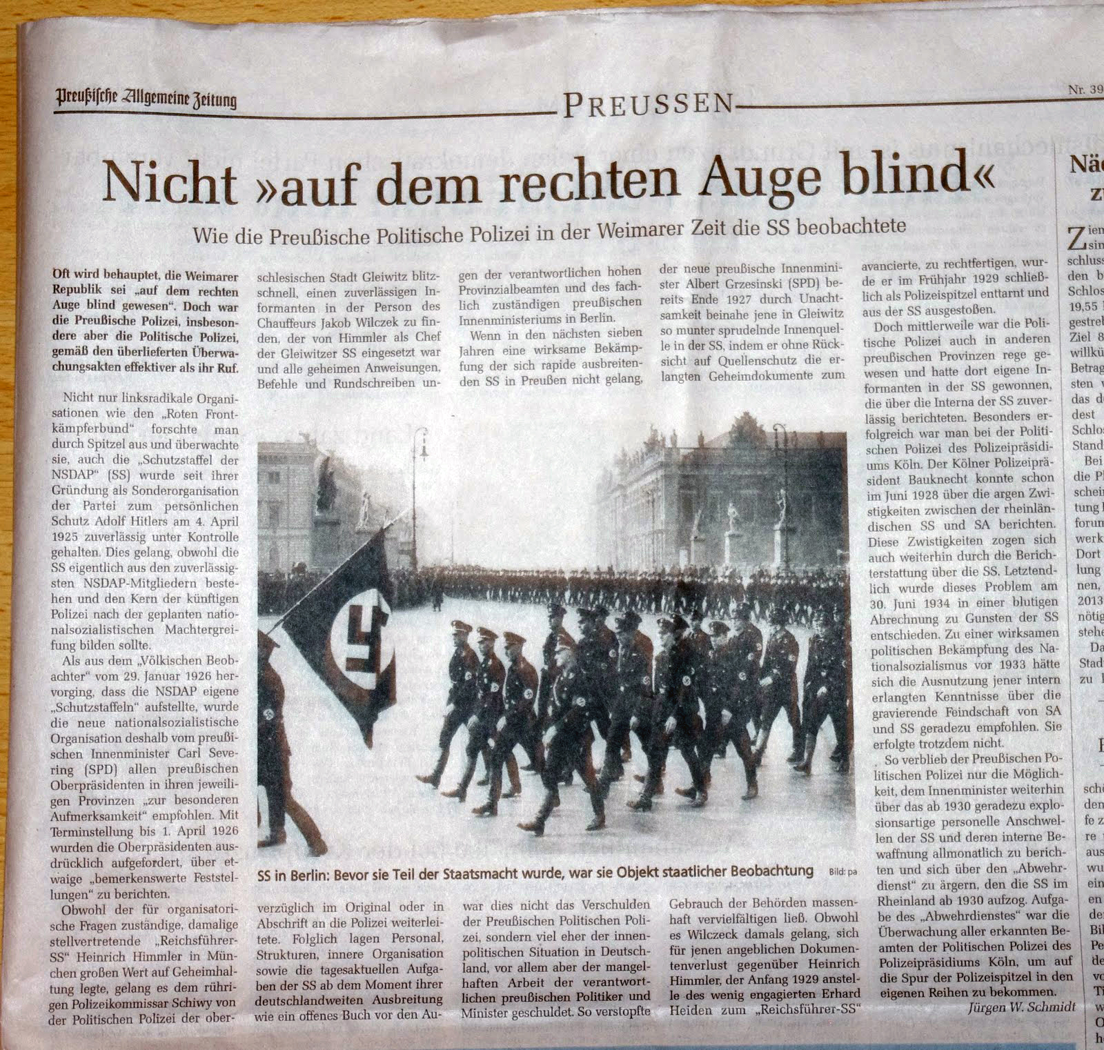 Polizei überwachte SS Preußische Allgemeine Zeitung