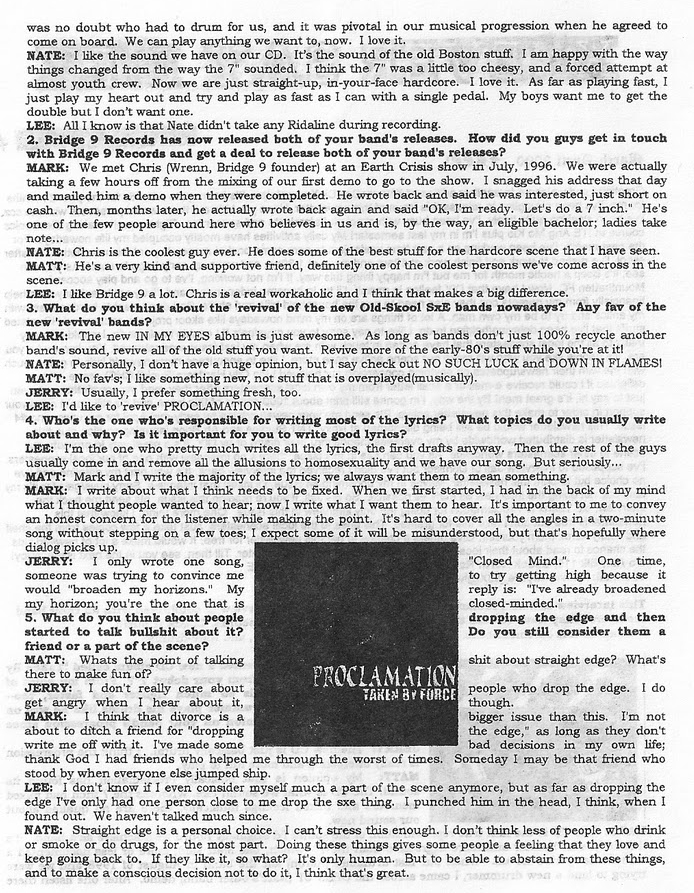 Interview with Boston Straight Edge Hardcore band Proclamation in Never Say Die Newsletter March 2000 1