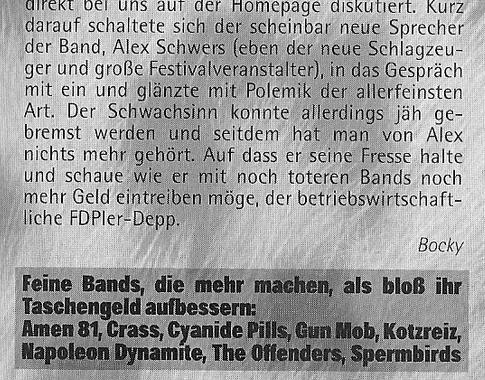 Kontroverse Slime Reunion 2010 im Punkrock Fanzine # 13