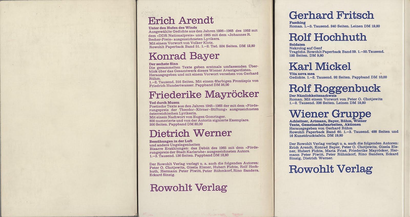 Anzeigen Rowohlt Verlag Kursbuch 1966 1967