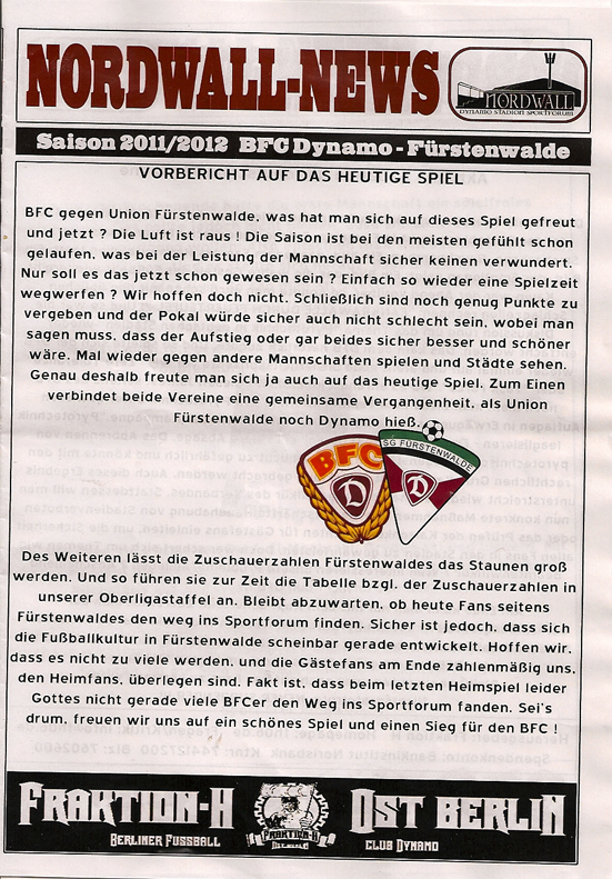 NORDWALL NEWS November 2011 BFC SG Fürstenwalde