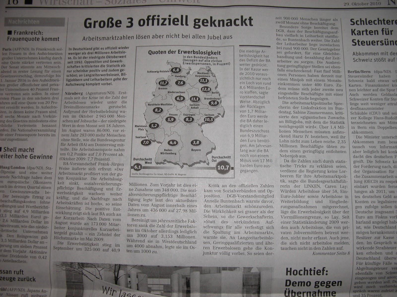 Neues Deutschland Arbeitsmarkt Statistik 1