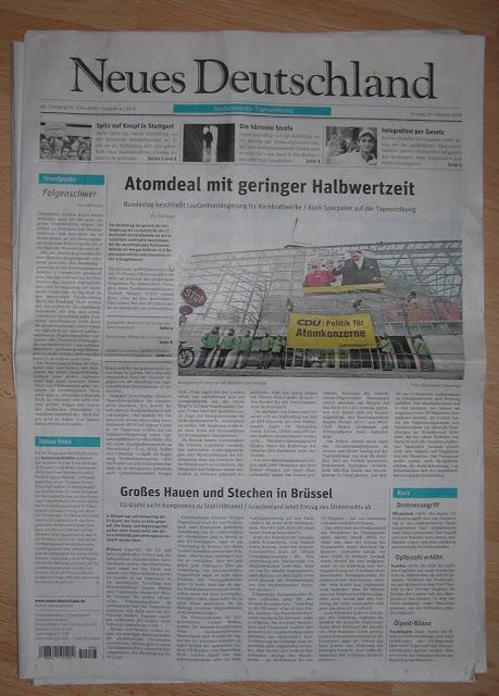 Neues Deutschland, Oktober 2010