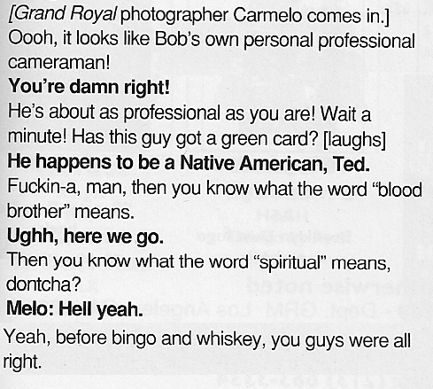 Ted Nugent on Indians in Grand Royal Magazine 1996