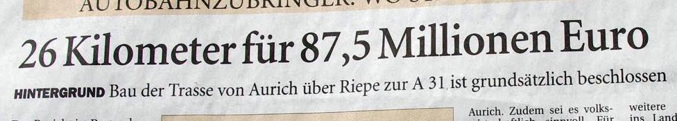 Ostfriesen Zeitung Umgehungsstrasse B210 Aurich
