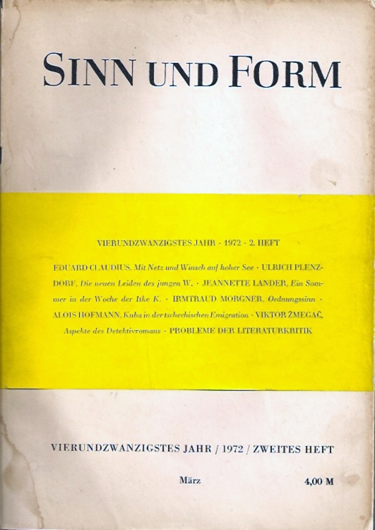 Sin und Form 1972 Ulrich Plenzdorf