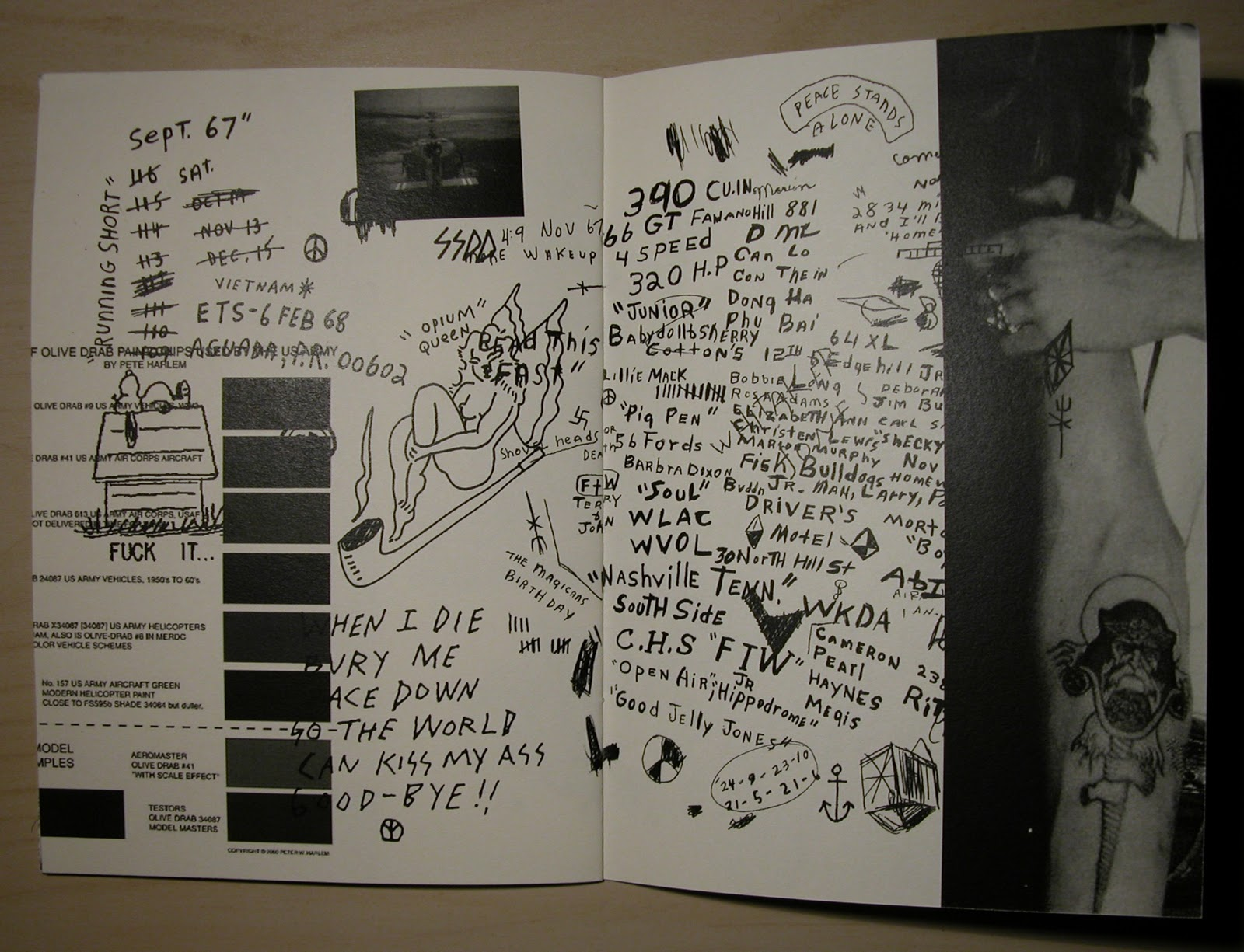double-page spread in Same Shit Different Day Fanzine by Erik Brunetti (Fuct), 2010.