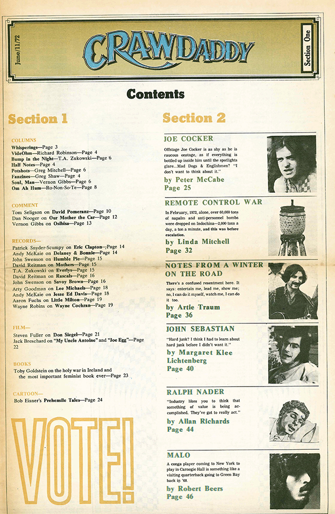 Crawdaddy Magazine Content 1972