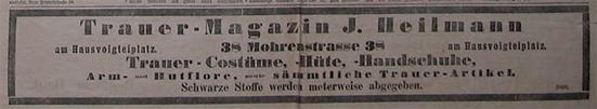 Anzeige Trauerkleidung 1888