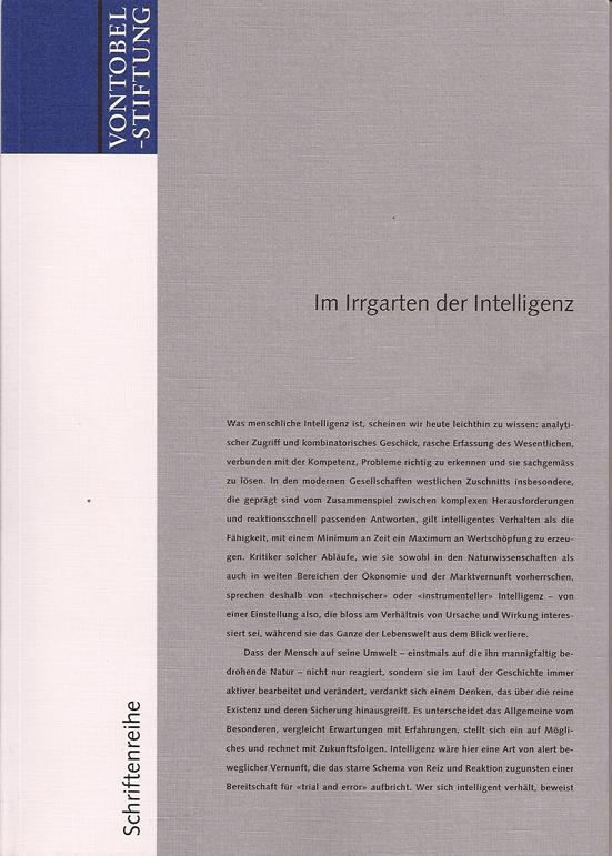 Vontobel Schriftenreihe Hans Magnus Enzensberger Im Irrgarten der Intelligenz