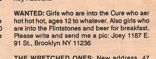 Flipside Magazine 1989 Clasified