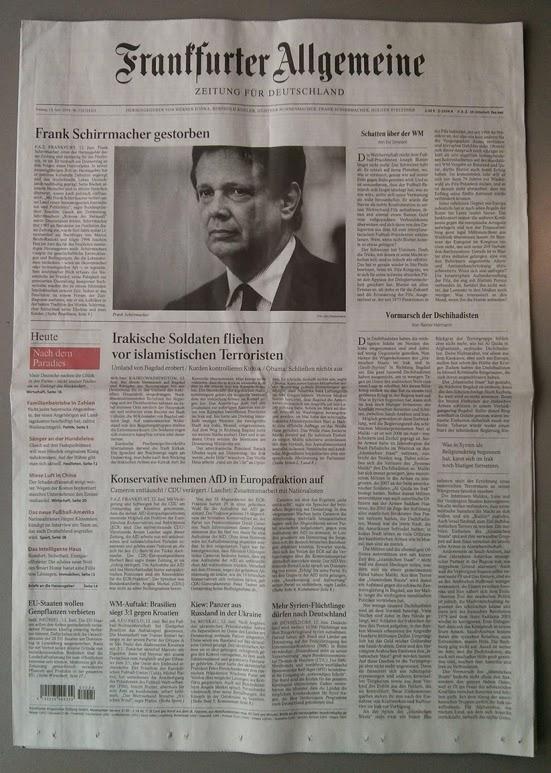 Frankfurt Allgemeine Schirrmacher Tod Juni 2014