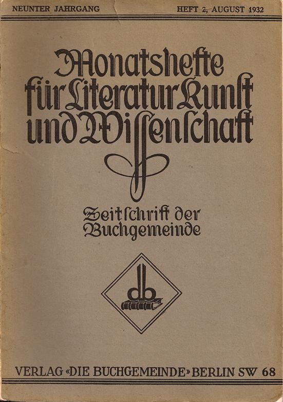 Monatshefte für Literatur Kunst und Wissenschaft August 1932
