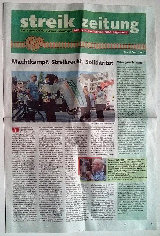 GDL-Streik 2015 Zeitung