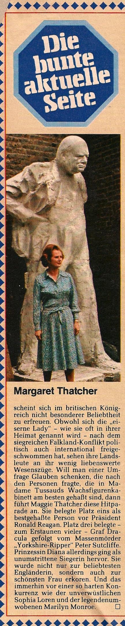 Margaret Thatcher Madamme Toussauds