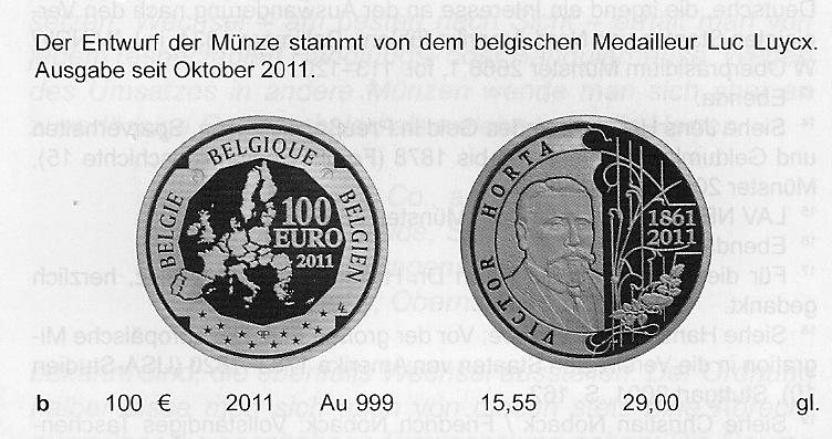 Belgische 100 Euro Münze Victor Horta