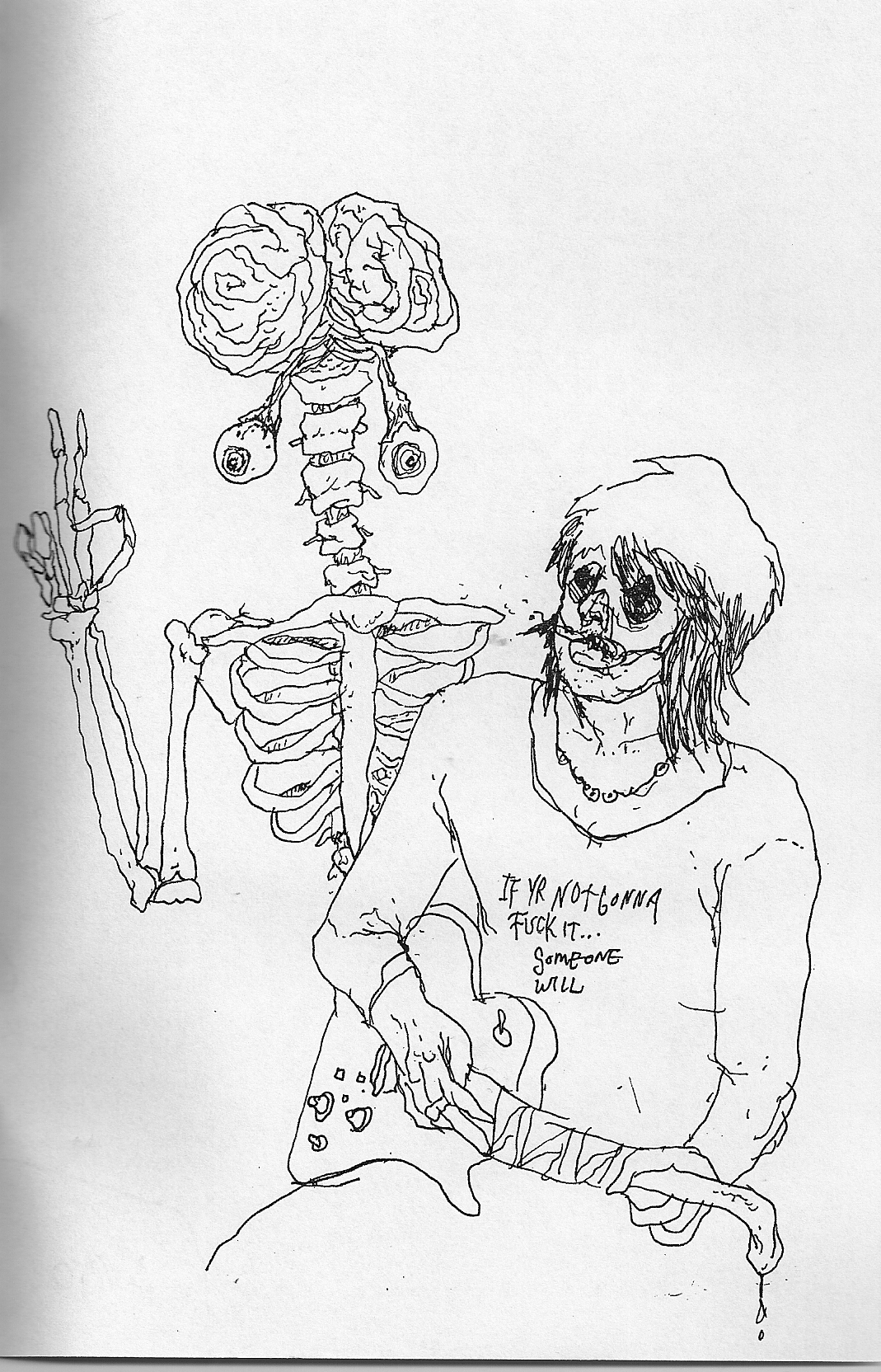 guitar and skeleton Ride The Viper zine