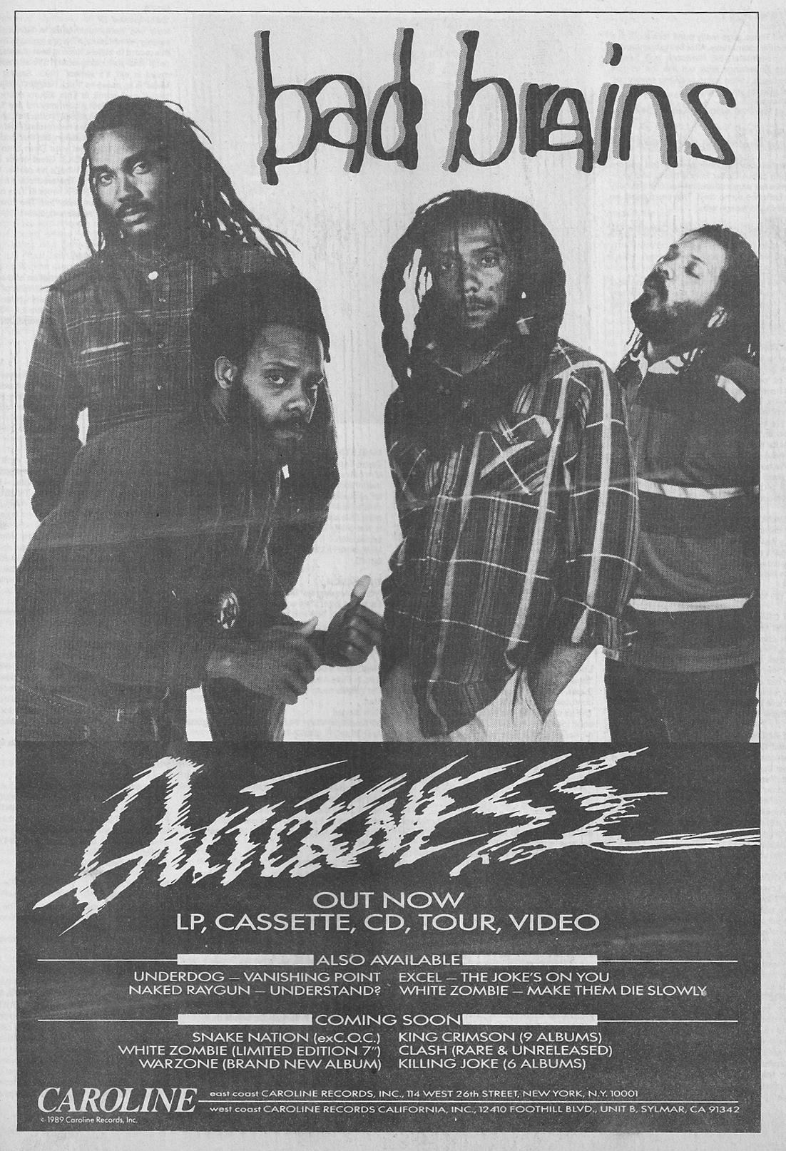 Bad Brains Quickness Caroline Advertising 1989
