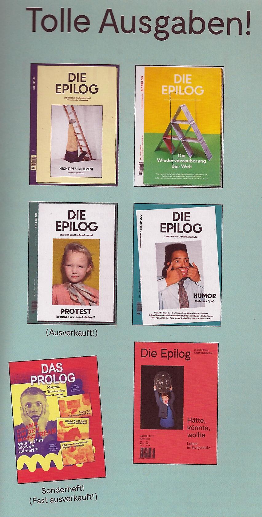 Die Epilog Zeitschrift Ausgaben