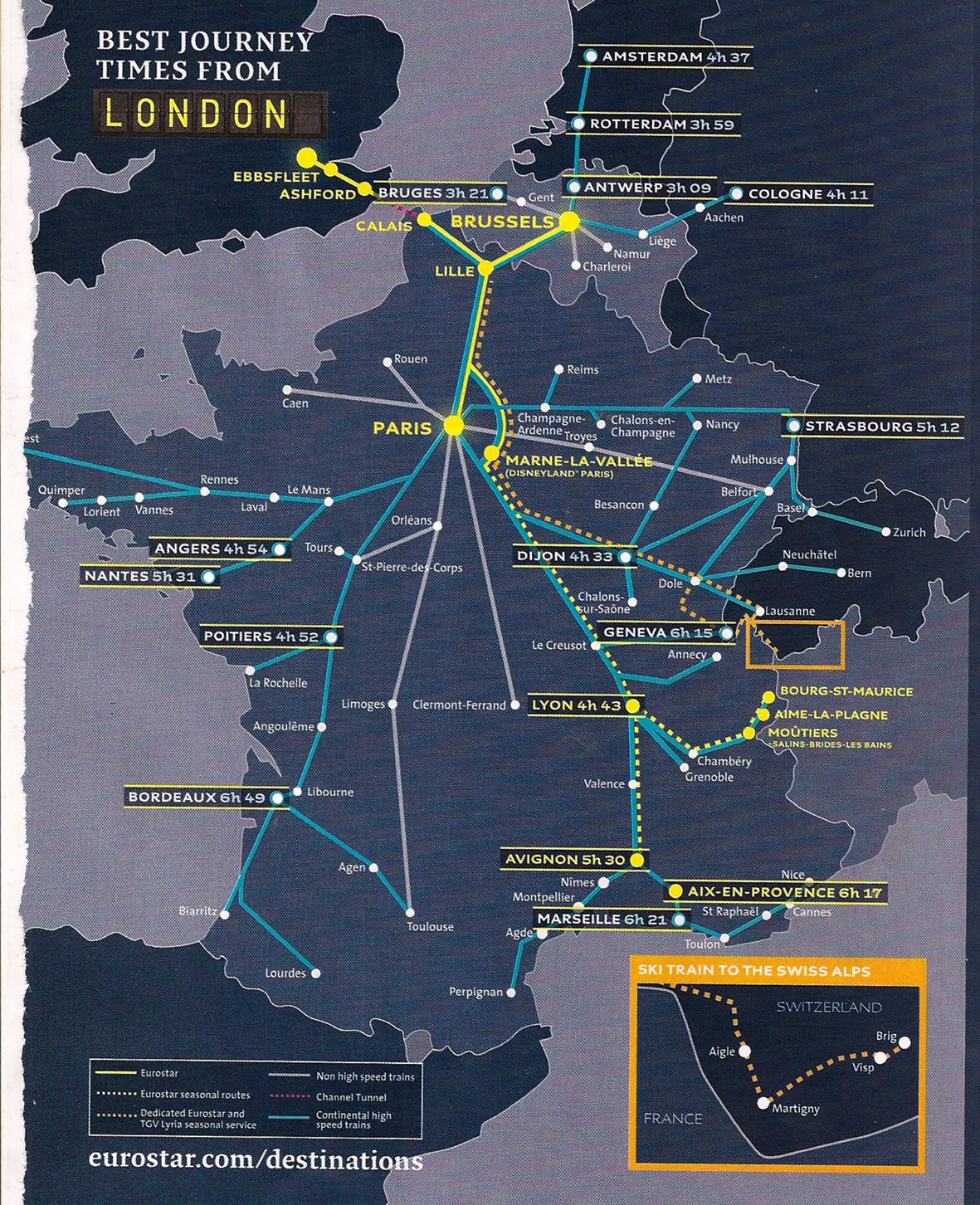 Streckennetz Eurostar