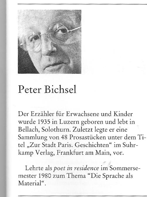 Peter Bichsel, Essen Poet in Residence