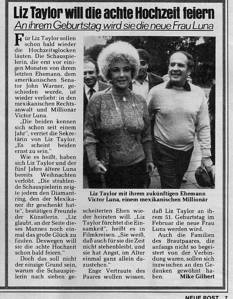 Elizabeth Taylors Victor Luna Hochzeit 1983