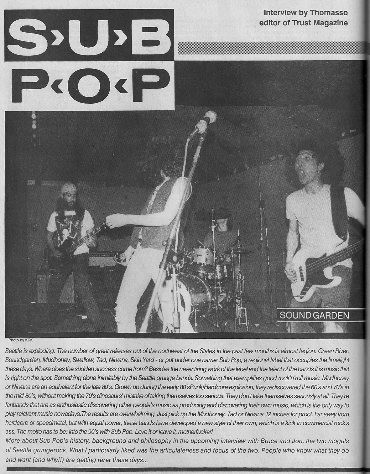 Sub Pop Records Interview Flipside 1989