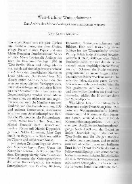 Merkur über Merve Verlag