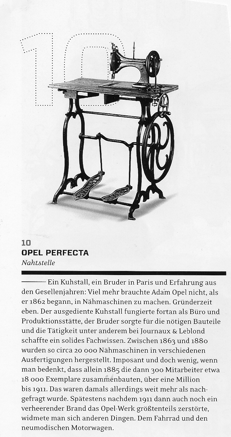 Opel Perfecta Nähmaschine 1863 im ramp magazin 2011