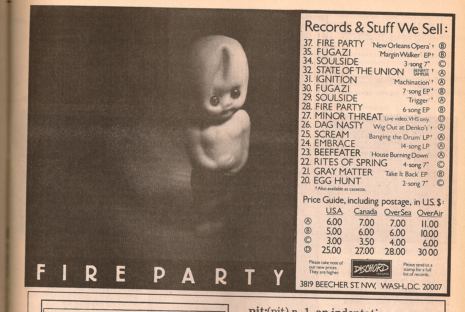 Dischord Records Advertising Flipside Magazine 1989