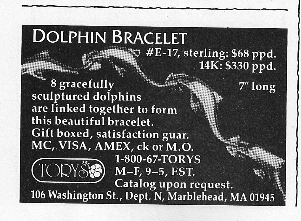 Tory Dolphin Bacelet Ad New Yorker December 1993