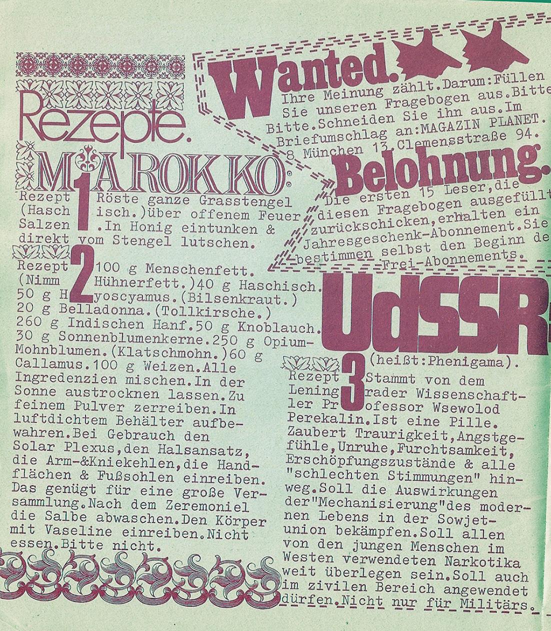 Leserbefragung Planet Magazin Juni 1970