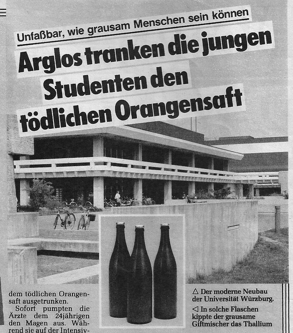 Vergifteter Orangensaft in Schule 1983