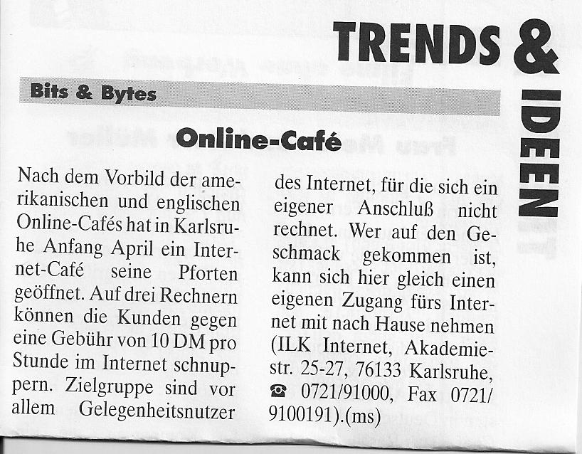 Internet Café 1995 die geschäftsidee