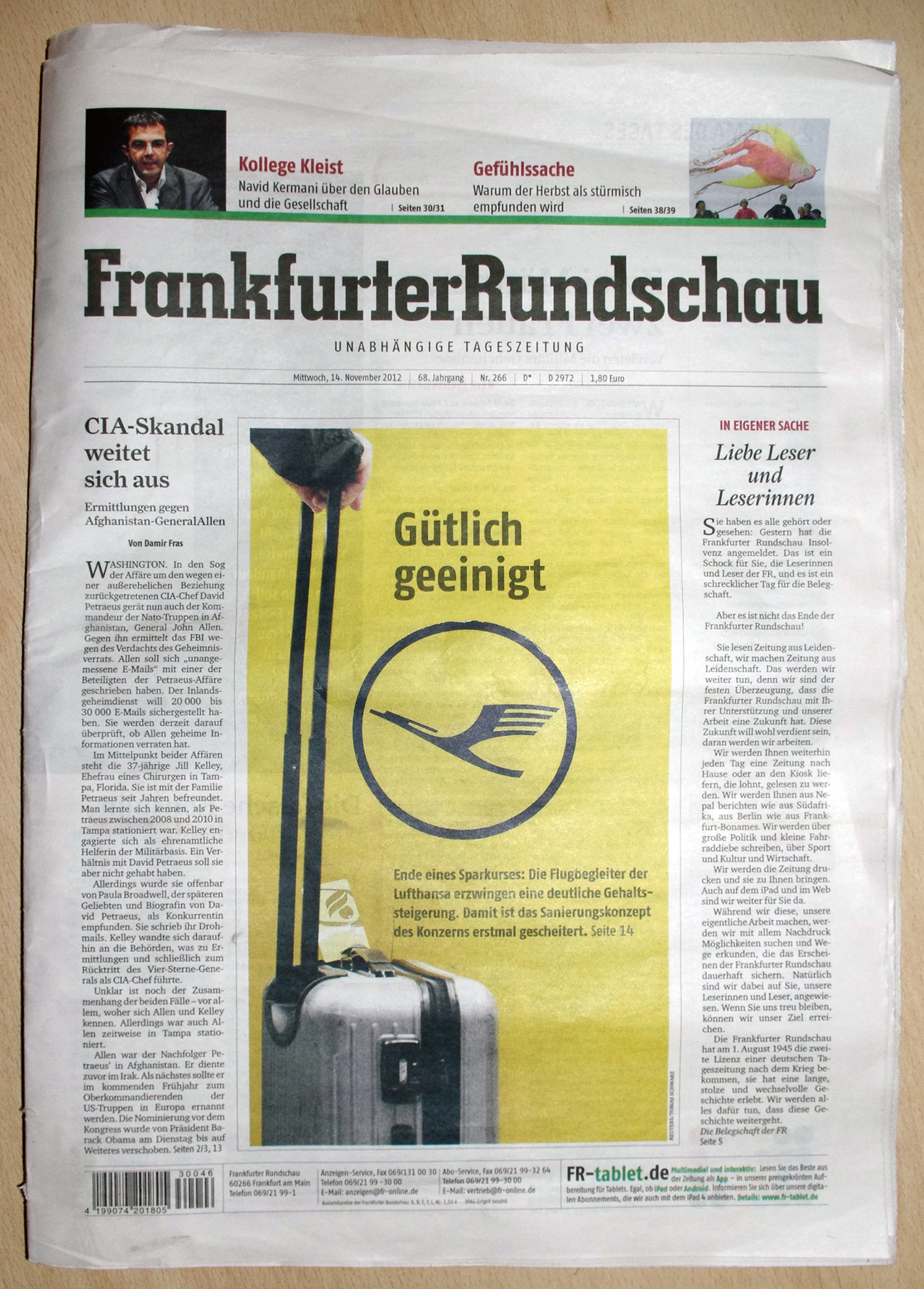 FrankfurterRundschau - Mittwoch, 14.November 2012