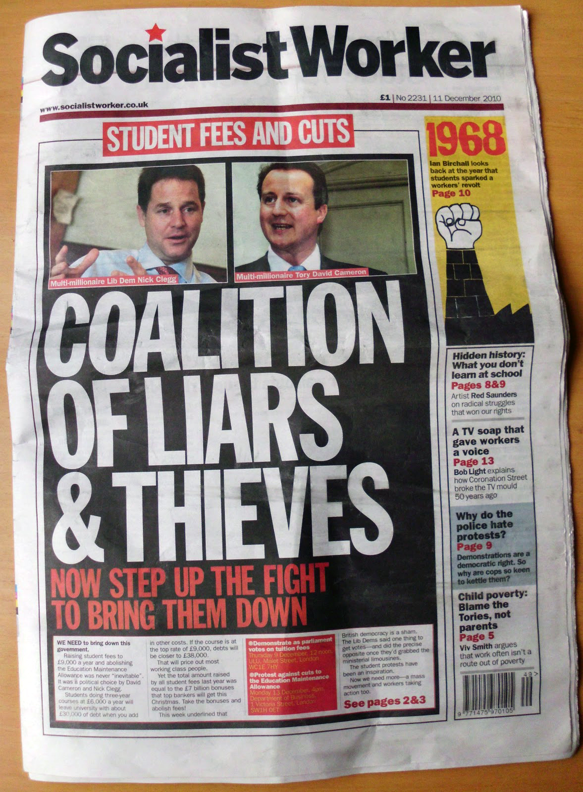 Cover of Socialist Worker England student protests December 2010